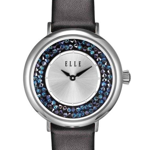 Elle Black Crystal Rock Watch