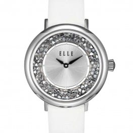 Elle White Crystal Rock Watch