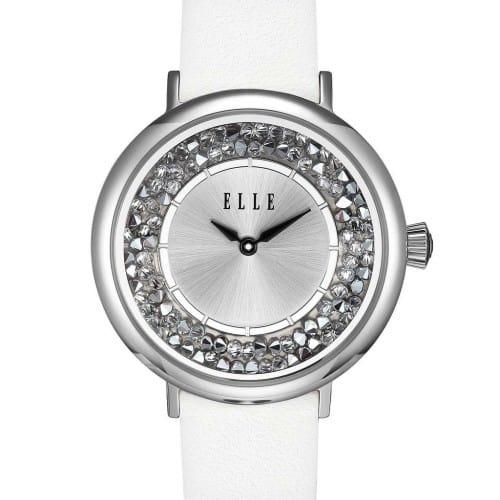 Elle White Crystal Rock Watch