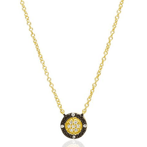 Freida Rothman Two-Tone Pavé Round Necklace.