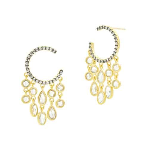 Freida Rothman c-hoop chandelier earrings.