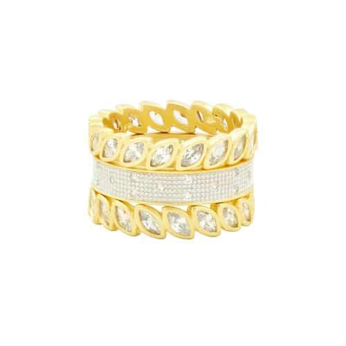Freida Rothman Fleur Bloom 3 stack rings.