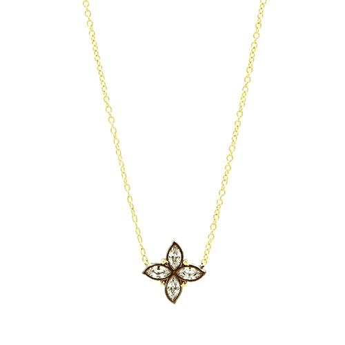 Freida Rothman Fleur Bloom Petal Pendant Necklace.
