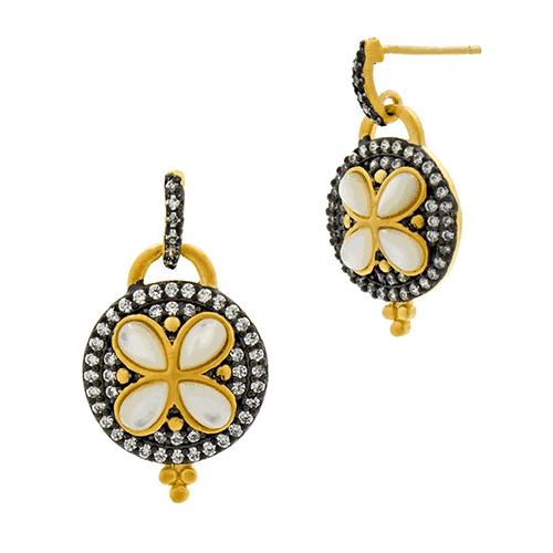 freida rothman fleur bloom round petal drop earrings
