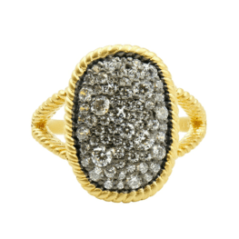 Freida Rothman Gilded Cable Large Pave Cocktail Ring.