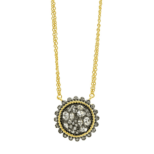 Freida Rothman Gilded Cable Pebble Stone Disc Necklace.