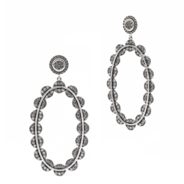 Freida Rothman Industrial Finish Large Pavé Oval Drops Earrings.