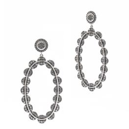 Freida Rothman Industrial Finish Large Pavé Oval Drops Earrings.