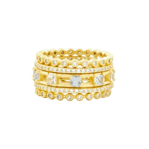 Frieda Rothman ocean azure 5 stack rings.
