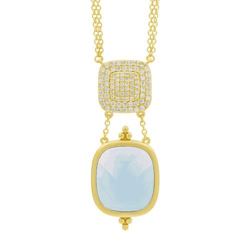 Freida Rothman ocean azure double drop pendant necklace.