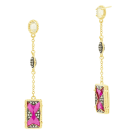 Freida Rothman rouge drop earrings.