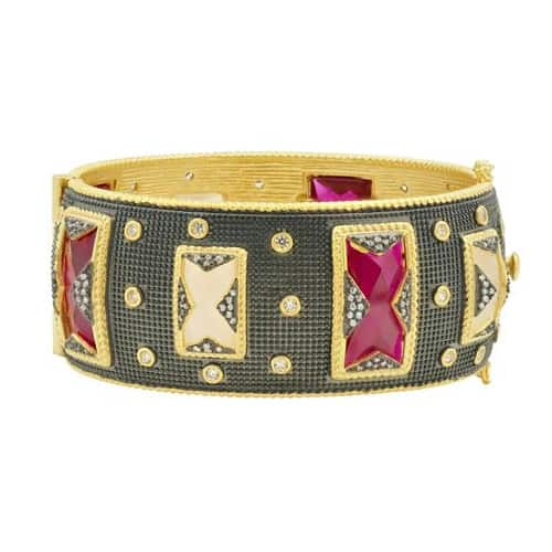 Freida Rothman rouge hinge bangle.