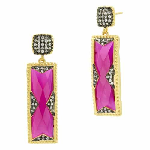 Freida Rothman rouge rectangle drop earrings.