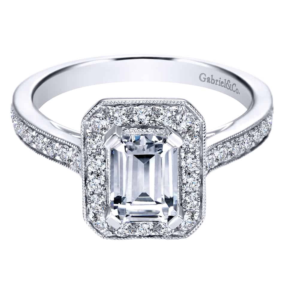 Gabriel & Co White Gold Diamond Halo Ring ER7528W44JJ