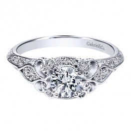 Gabriel & Co. New York 14k White Gold Diamond Halo Engagement Ring