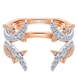Gabriel & Co. New York 14k White/pink Gold Diamond Jacket Anniversary Band