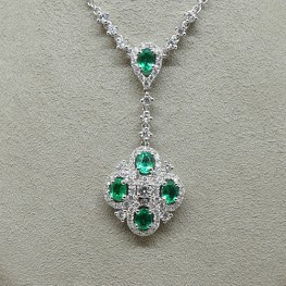 Green Emerald and Diamond Necklace