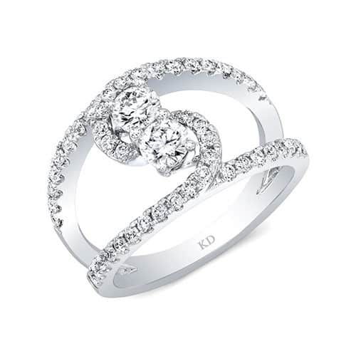 Kattan Two-Stone Contemporary Diamond Engagement Ring