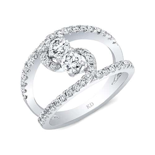 Kattan Two-Stone Contemporary Diamond Engagement Ring.