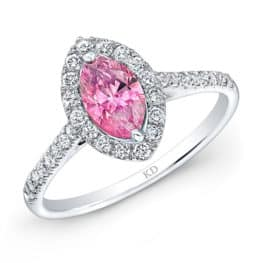 Kattan White Gold Classic Pink Enhanced Marquise Diamond Engagement Ring.