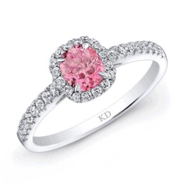 kattan white gold pink halo diamond engagement ring