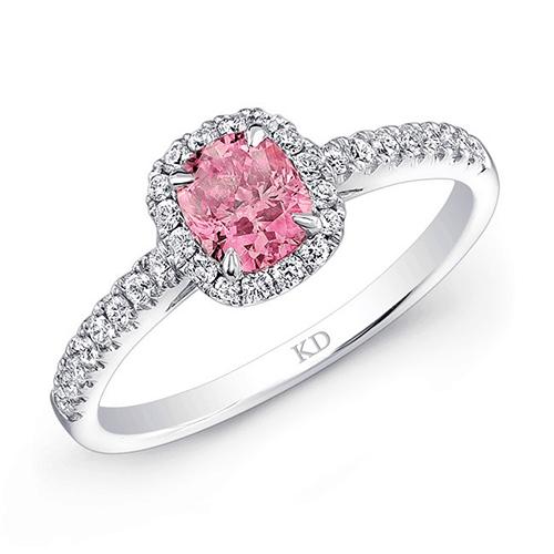 kattan white gold pink halo diamond engagement ring