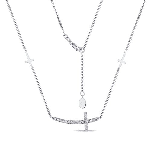 luvente 14k white gold cross round diamond necklace n01169