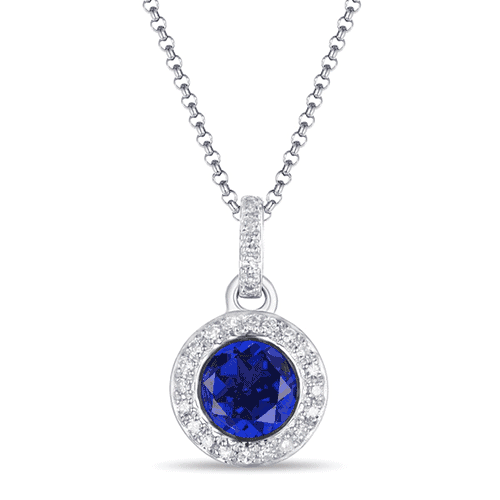luvente 14k white gold diamond sapphire necklace n01422