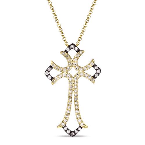luvente 14k yellow gold cross diamond necklace n01190