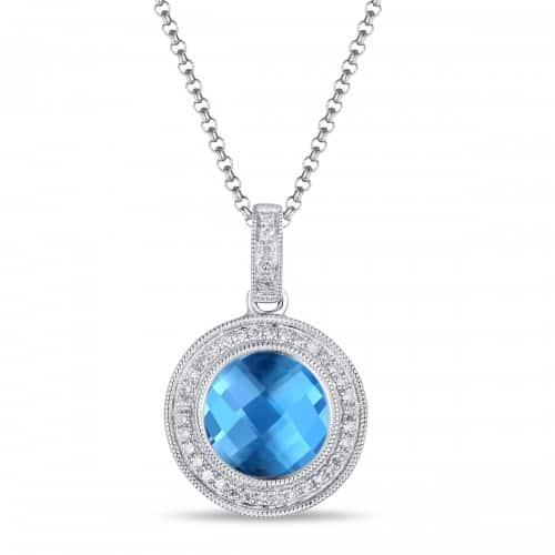 Luvente 01415 Blue Topaz and Diamond Necklace