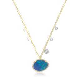 Meira T Australian opal necklace with diamonds and pearls