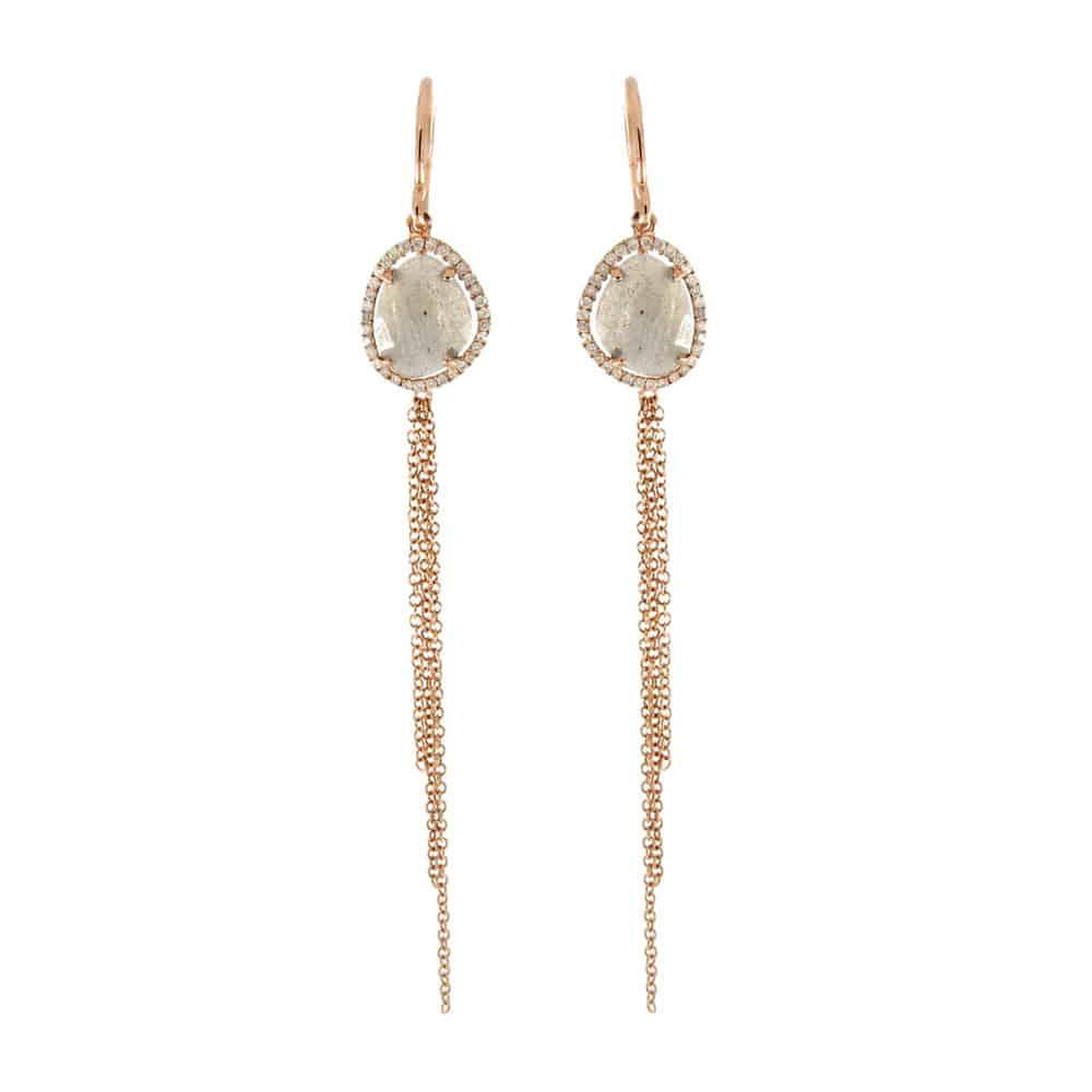 Meira T Rose Gold Labradorite Amp Diamond Chain Earrings