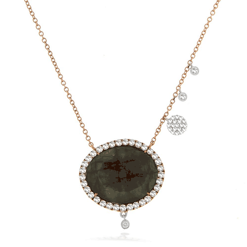 Meira T Labradorite Charm Necklace with 14K Rose Gold and Diamonds