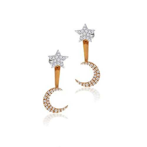 Meira T Moon and Star Ear Jacket Earrings.