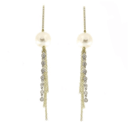 Meira T Pearl Chain Earrings.