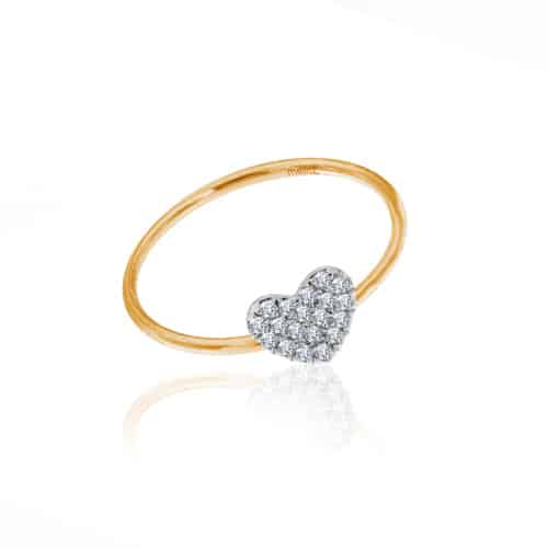 Meira T rose gold diamond heart ring.