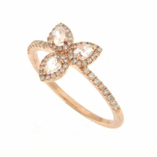 Meira T Rose Gold Petal Diamond Ring