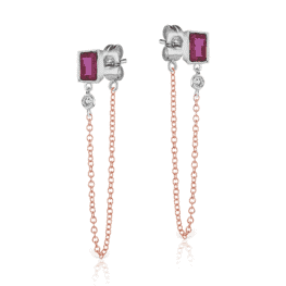 meira t ruby stud bezel earrings