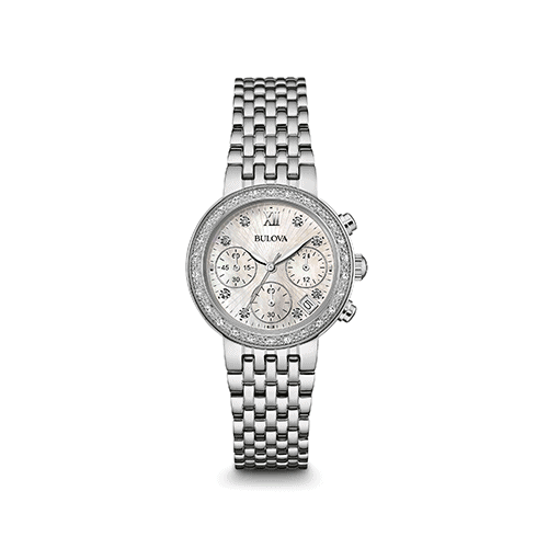 bulova womens diamond chronograph watch 96r204
