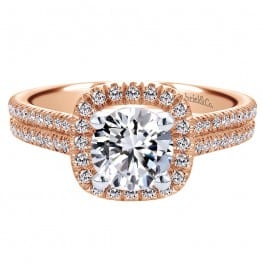 Gabriel & Co. 14k Pink Gold Diamond Halo Engagement Ring