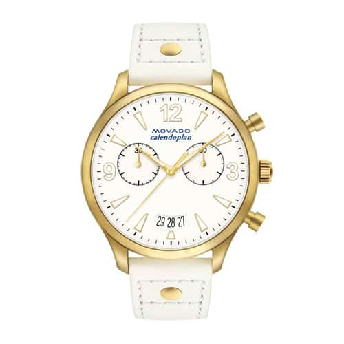 Movado women's heritage series pale gold white watch.