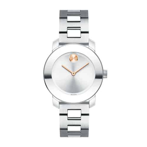 Movado Bold mid-sized stainless steel rose gold.