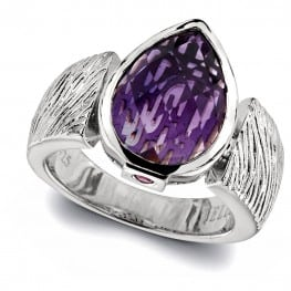 pear shape amethyst w texture ring band