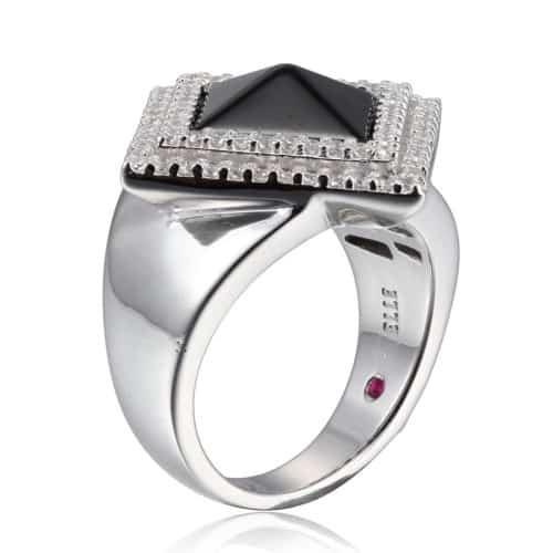 Elle Pyramid Black Agate Pave Ring