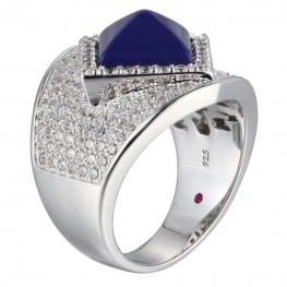 Elle Pyramid Blue Lapis Pave Ring
