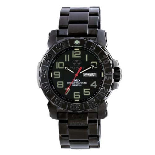 Reactor mens black trident 2 watch.