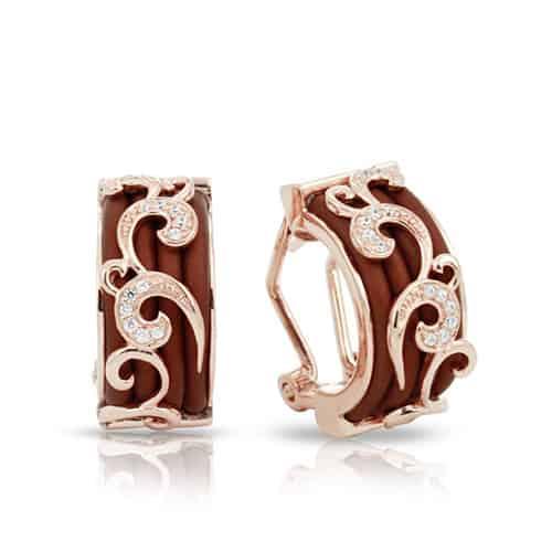 belle etoile reina brown rose gold earrings