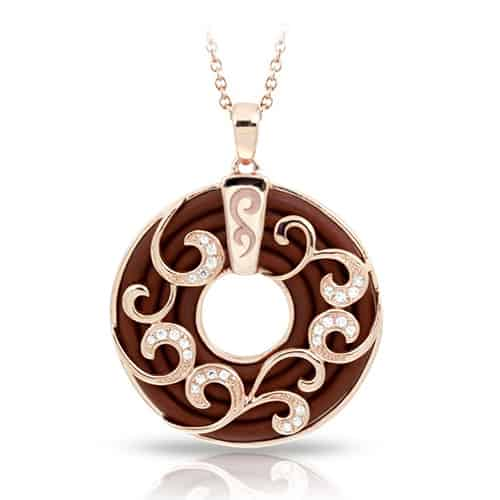 belle etoile reina brown rose gold pendant