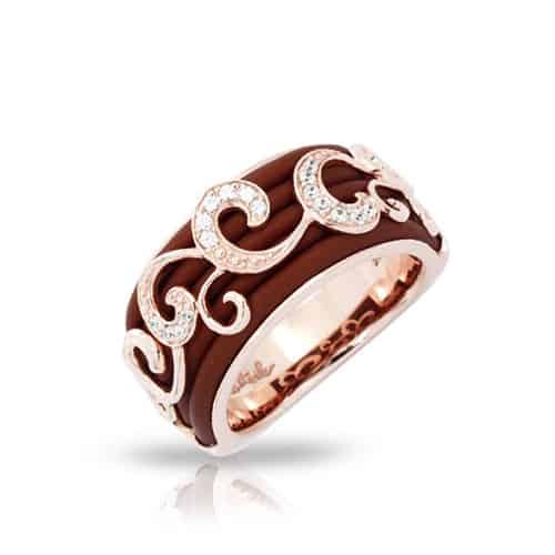 belle etoile reina brown rose gold ring