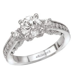 Romance White Gold 3-Stone Round Diamond Engagement Ring